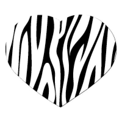 SMALL BLACK HEART ZEBRA STRIPES PK12