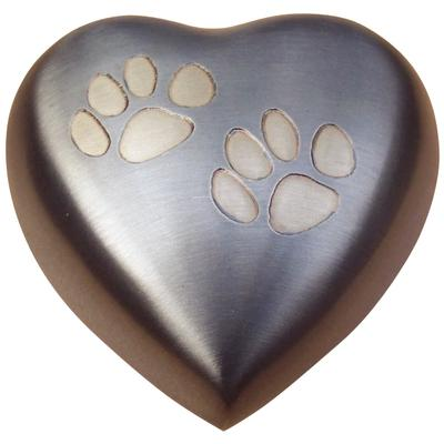 Urn - Double Paw Pewter/Brass Heart