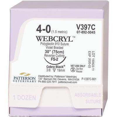 Patterson Veterinary Webcryl™ Cobra Black™ Sutures